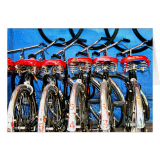 Tarjeta Alquileres de la bicicleta, ciudad azul