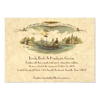 Tarjeta Amantes del barco del vintage que casan la