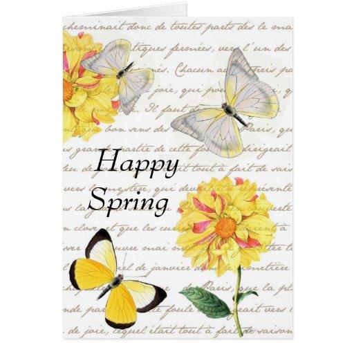 Tarjeta amarilla de la primavera de la dalia de la