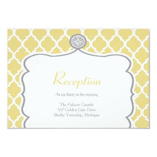 Tarjeta amarilla de la recepción nupcial de invitación 8,9 x 12,7 cm
