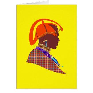 Tarjeta amarilla del guerrero de Maasai de las tar