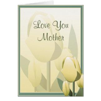 Tarjeta amarilla del tulipán hermoso de la tarjeta de felicitación