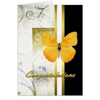 Tarjeta amarilla elegante de la graduación de la