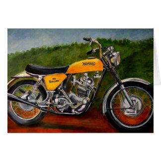 Tarjeta amarillo de la moto del comando del norton