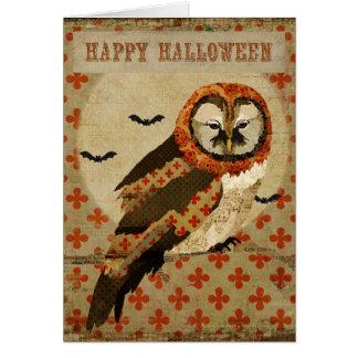 Tarjeta ambarina de Halloween del búho