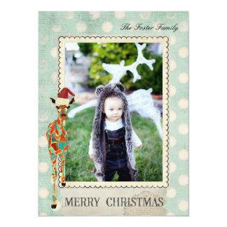 Tarjeta ambarina de la foto del navidad de invitación 13,9 x 19,0 cm