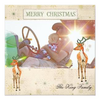 Tarjeta ambarina de la foto del navidad del dólar invitación 13,3 cm x 13,3cm