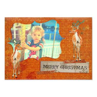 Tarjeta ambarina de la foto del navidad del dólar invitación 12,7 x 17,8 cm