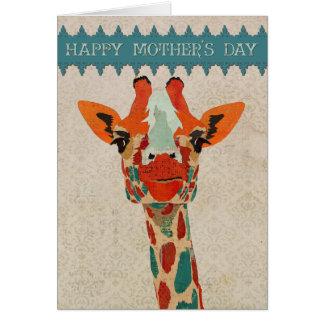Tarjeta ambarina II del día de madre de la jirafa