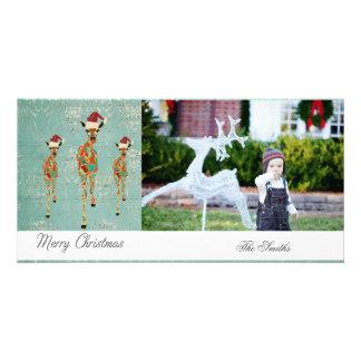 Tarjeta ambarina y azul de la foto del navidad de tarjetas fotográficas
