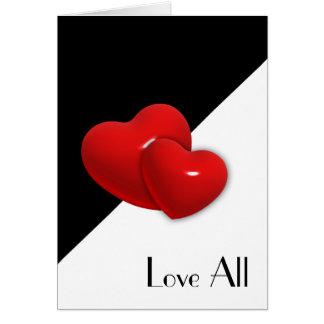 Tarjeta Ame todos los corazones dobles