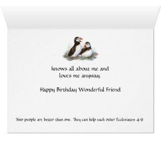Tarjeta Amigo del cumpleaños de la diversión - pájaro y