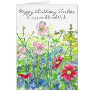 Tarjeta Amigo del feliz cumpleaños de la flor de la
