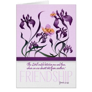 Tarjeta Amistad con verso y púrpura de la biblia de la