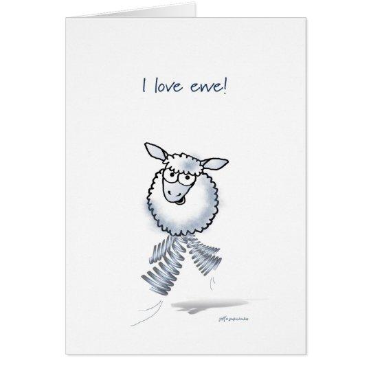 Tarjeta ¡Amo la oveja! ¡Aniversario feliz!