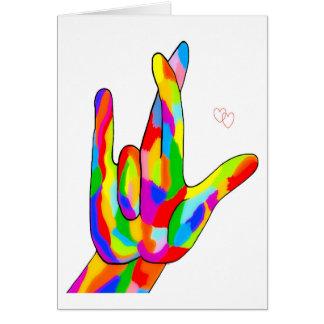 Tarjeta Amor del ASL I realmente usted colores brillantes