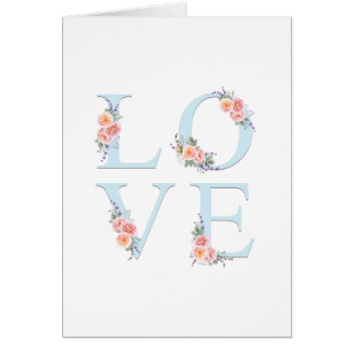 Tarjeta Amor en tipografía floral romántica de la