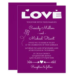 Tarjeta Amor púrpura, mariposas y el casarse de los