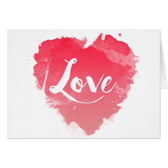 Tarjeta Amor rojo del blanco del corazón de la acuarela