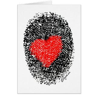 Tarjeta Amor secreto de la huella dactilar del corazón del