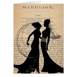 Tarjeta Amor y boda Longfellow que se casa lesbiano del