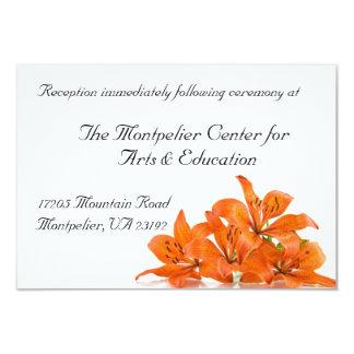 Tarjeta anaranjada de la recepción del lirio invitación 8,9 x 12,7 cm