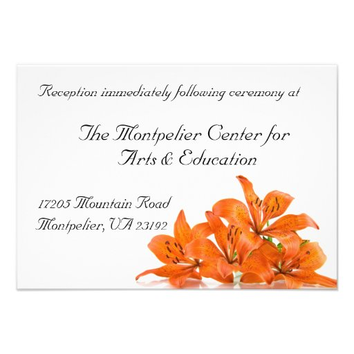 Tarjeta anaranjada de la recepción del lirio comunicados personales