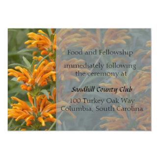 Tarjeta anaranjada de la recepción nupcial de la invitación