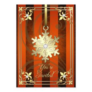 Tarjeta anaranjada dorada del día de fiesta del invitación 12,7 x 17,8 cm