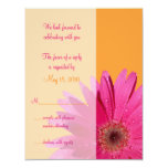 Tarjeta anaranjada y rosada de la respuesta del invitacion personalizada