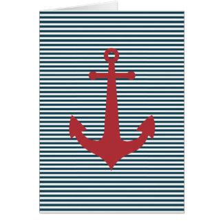 Tarjeta Ancla náutica roja en fondo azul rayado
