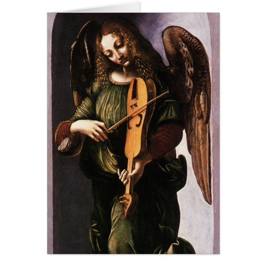 Tarjeta Ángel con Vielle por el navidad de Leonardo da