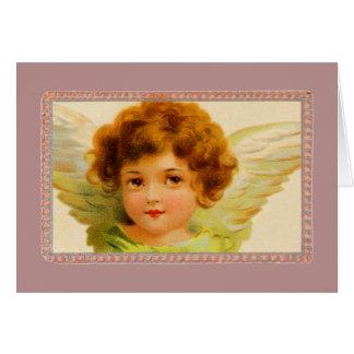 Tarjeta Ángel de la niña del vintage en marco