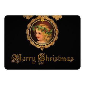 Tarjeta Ángel del navidad del vintage en marco del acebo