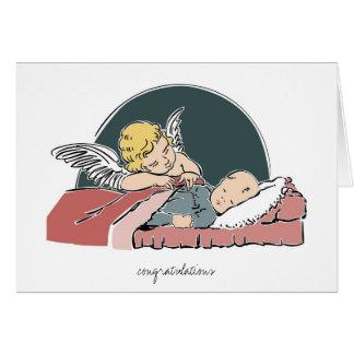 Tarjeta-Ángel del saludo del bautismo del bebé que Tarjeta De Felicitación