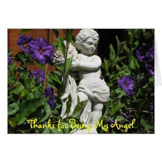 Tarjeta Ángel en el jardín