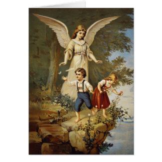 Tarjeta Ángel y niños de guarda del Victorian