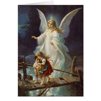 Tarjeta Ángel y niños de guarda del vintage