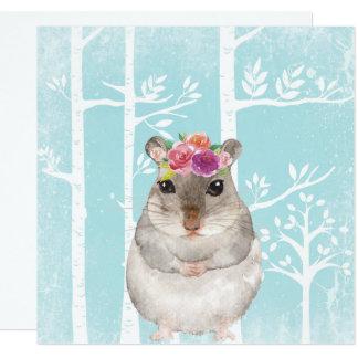 Tarjeta Animal feliz con las flores en Bosque-Hámster azul