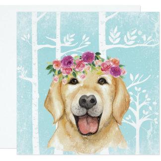 Tarjeta Animal feliz de la flor en Bosque-Perro-Perro