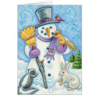 Tarjeta Animales lindos del navidad que construyen un