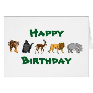 Tarjeta Animales salvajes del feliz cumpleaños