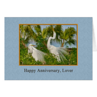 Tarjeta Aniversario, amante, grandes pájaros del Egret