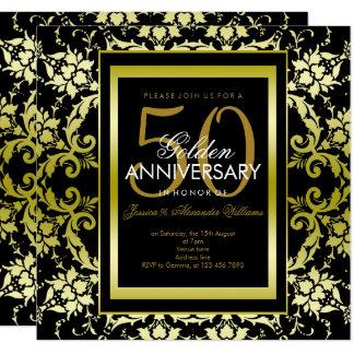 Tarjeta Aniversario de boda atractivo del damasco 50.o del