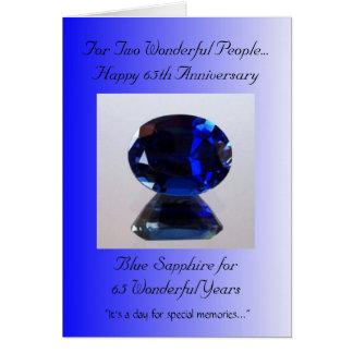 Tarjeta Aniversario de boda azul del zafiro 65.o