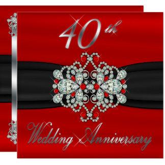 Tarjeta Aniversario de boda bloqueado de los rubíes 40.os