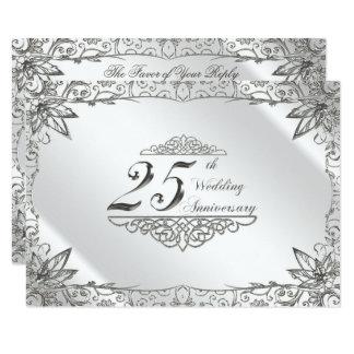 Tarjeta Aniversario de boda de la plata del Flourish 25to
