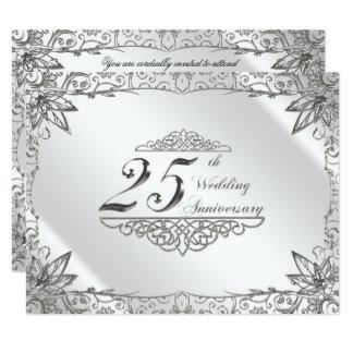 Tarjeta Aniversario de boda de la plata del Flourish el