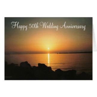 Tarjeta Aniversario de boda de la puesta del sol 50.a