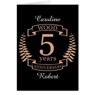 Tarjeta Aniversario de boda de madera 5 años